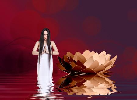 vinous: Woman in white dress beside lotus on the vinous background