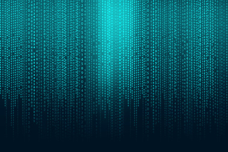 numbers abstract: Matrix background with the green blue symbols Stock Photo