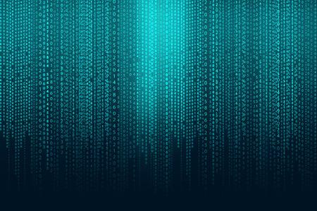 codigo binario: matriz de fondo con los símbolos azules verdes Foto de archivo