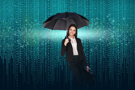 light green: Businesswoman with umbrella and briefcase on the matrix background