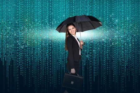 internet background: Businesswoman with umbrella and briefcase on the matrix background