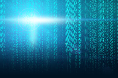 Matrix background with the green blue symbols and light flash