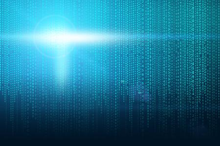 sfondo Matrix con i verdi simboli blu e flash di luce