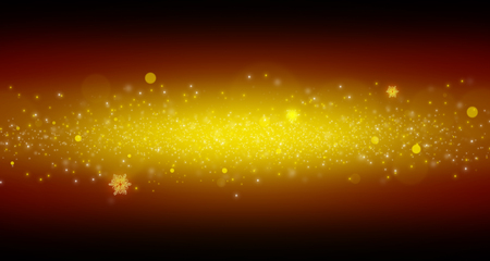 black star: Bright yellow dust. Sparkle and flash .Snowflakes sky background Stock Photo