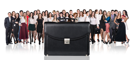 black briefcase: Black briefcase foreground and crowd of business peole isolated on the white Stock Photo