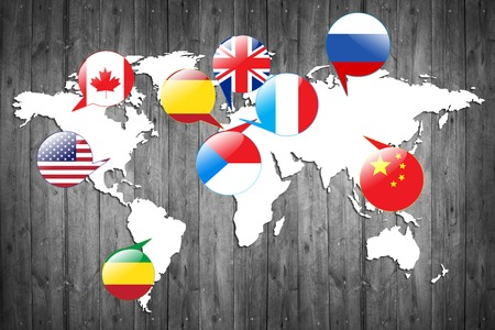 different countries: Flags of different countries on the white map.  Stock Photo