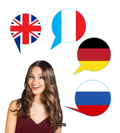 Young woman surrounded by dialogue bubbles with countries flags. Germany,  Britain, Russia, Czech. Learning of foreign languages concept.