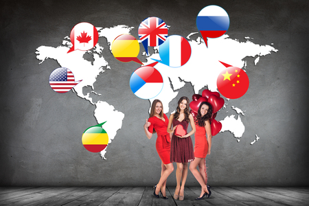 linguistics: Flags of different countries on the white map.  Stock Photo