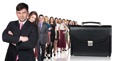 abreast: Black briefcase foreground and crowd of business peole isolated on the white Stock Photo