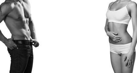 hombre flaco: cuerpos hombre y de la mujer aislados en un fondo blanco