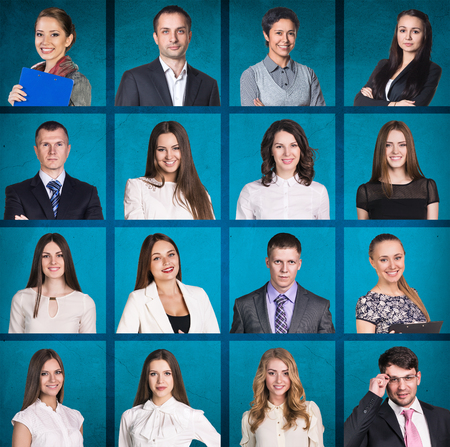volto uomo: Gli uomini d'affari ritratto collage. Forma quadrata. sfondo blu Archivio Fotografico