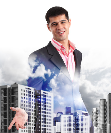 futuristic building: Happy young businessman greeting, transparent on the city street Stock Photo