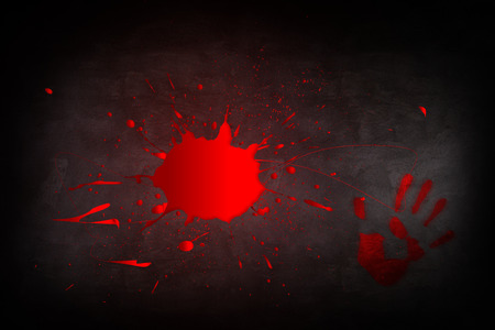 drench: Puddle of blood on the dark background Stock Photo