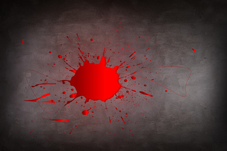 spattered: Puddle of blood on the dark background Stock Photo