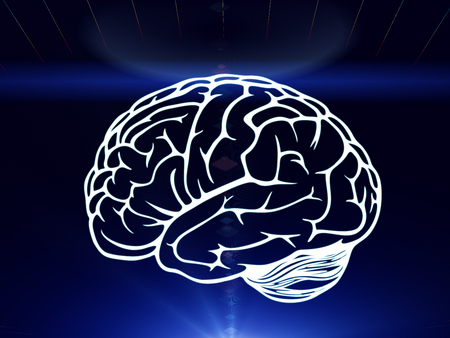 business mind: Drawn brain hovered over the human hand on the dark blue background