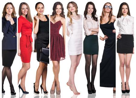 fashion: ファッション コラージュ。美しい若い女性のグループ。官能的な女の子
