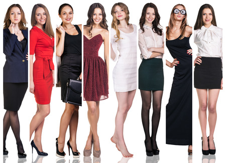 business fashion: Fashion collage. Group of beautiful young women. Sensual girls