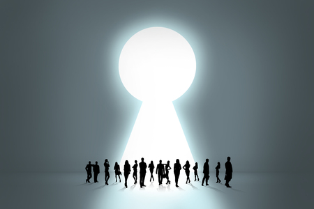 big behind: People silhouettes stand on the big keyhole exit behind