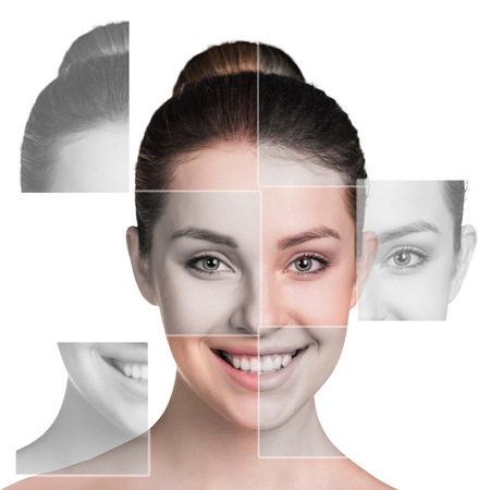 dermatology: Perfect female face made of different faces. Plastic surgery concept.