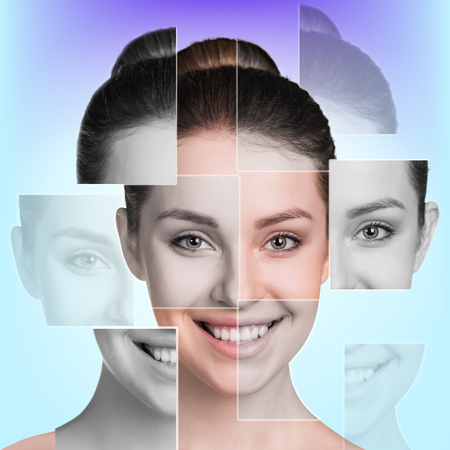 collage caras: Cara femenina perfecta hecha de diferentes caras. Concepto de la cirugía plástica.