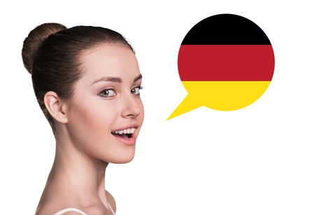 dutch girl: Beautiful woman speak.Bubble with German flag. Isolated background. Stock Photo