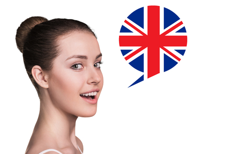 fluent: Beautiful woman speak.Bubble with Britain flag. Isolated background.