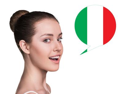 fluent: Beautiful woman speak.Bubble with Italian flag. Isolated background.