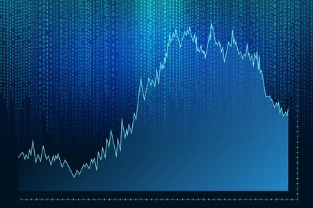 matrix: Matrix background with graph and green blue symbols