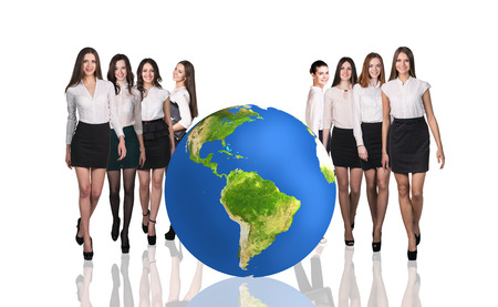 earth map: Group of successful businesspeople beside big earth ball.