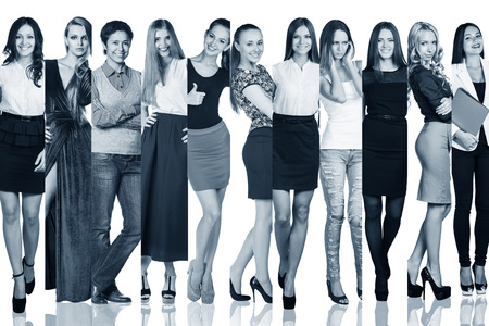 persone nere: Fashion cut collage. Group of beautiful young women. Sensual girls