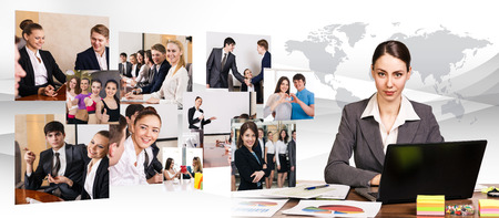 technology collage: Business woman working on a laptop and collage of different people background.