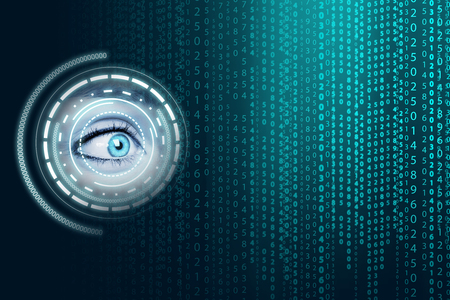 human eye: Matrix background with the green blue symbols Stock Photo