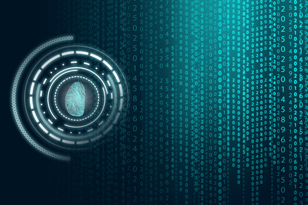 matrix: Matrix background with the green blue symbols Stock Photo
