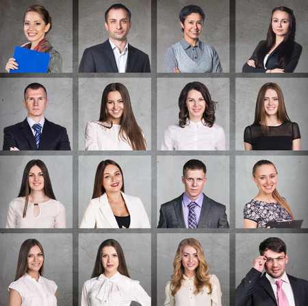 photo montage: Business people portrait collage. Square shape. Gray background
