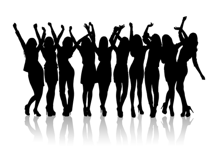 joyful: Group of silhouette girls dancing on the white background Stock Photo