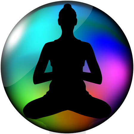 aura: Silhouette of woman in yoga position in aura circle Stock Photo