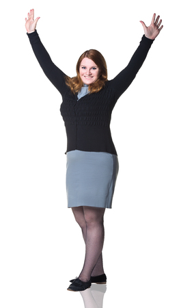 Business woman smiling with hands up, isolated over white background