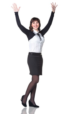 black secretary: Business surprised woman smiling with hands up, isolated over white background Stock Photo