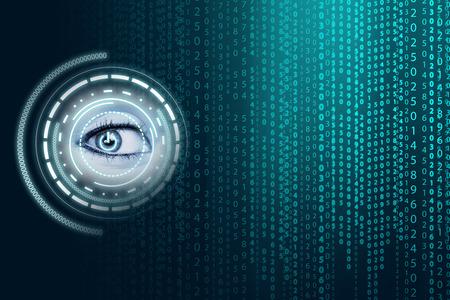 black eye: Matrix background with the green blue symbols Stock Photo