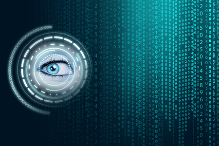 numbers background: Matrix background with the green blue symbols Stock Photo