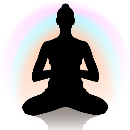 zenlike: Silhouette of young woman in yoga position