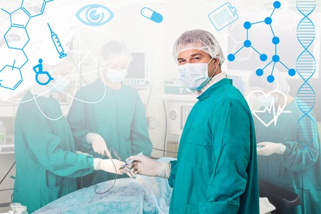 cardiosurgery: Team of surgeon in uniform perform operation on a patient