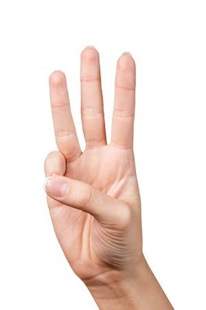 dedo: se�al con la mano. Tres dedos. Aislado en blanco