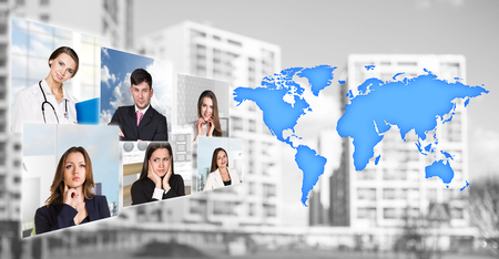 world of work: Portraits of people near map with icons on the city background. Elements of this image furnished by NASA