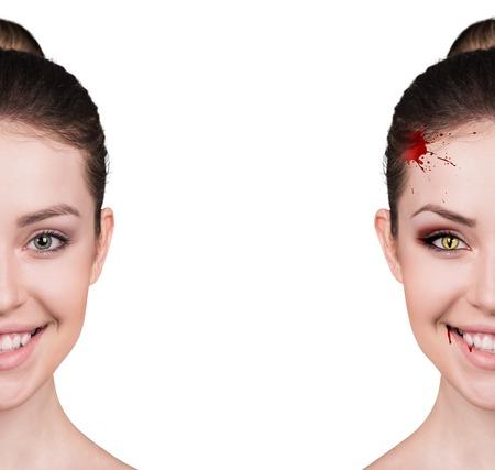 吸血鬼の牙を白で隔離と美しい女性 写真素材