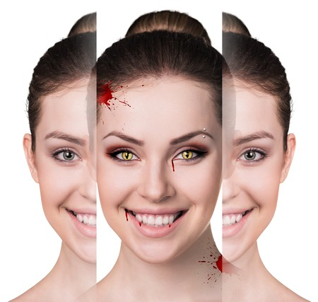 spot the difference: Beautiful woman with vampire fangs isolated on white