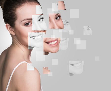 volto femminile perfetto fatta da volti parti .plastic concetto di un intervento chirurgico. Archivio Fotografico