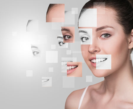 beauty eyes: Perfect female face made from faces parts .Plastic surgery concept.