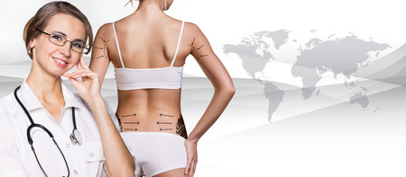 correction lines: Slim woman body with correction lines on her back. Elements of this image furnished by NASA