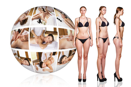 junge nackte m�dchen: Woman in black underwear near collage ball of beauty massage. Medicine, health care concept.